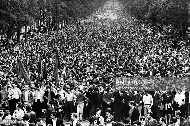 Parisian students and sympathizers parade in Montparnasse to assert their opposition to the Gaullist regime