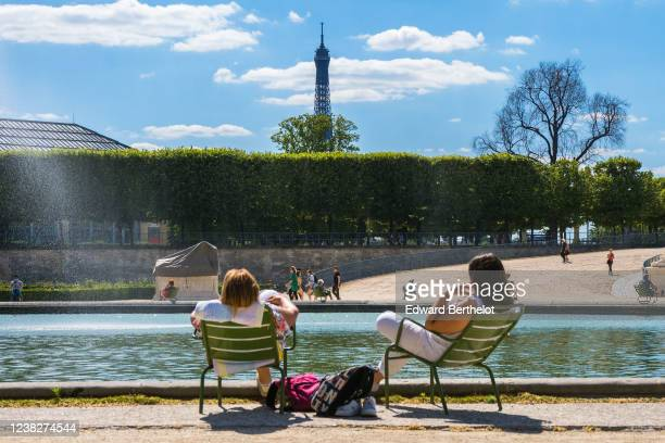 Parisians gather and sit in the Tuileries garden, which is open to the public on May 31, 2020 in Paris, France. The coronavirus pandemic has spread...