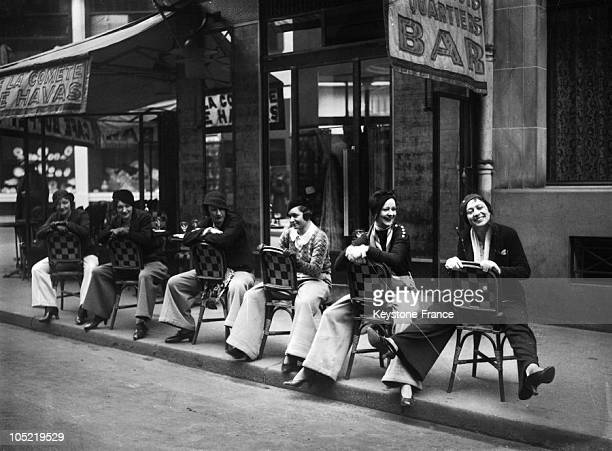 Parisians Young Women On A Pub Terrace