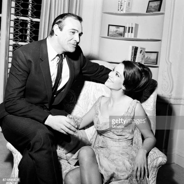 Parisienne actress Claudine Auger who will play Domino in the James Bond film Thunderball seen here with Sean Connery during an interview with the...