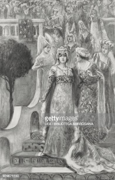 Parisina appears at the top of the stairs followed by young performers Act I of Parisina by Gabriele D'Annunzio and Pietro Mascagni at the La Scala...