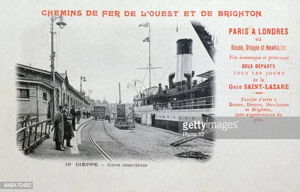 ParisLondon station at Dieppe France Steamer which carried train across the English Channel Photo12/UIG via Getty Images