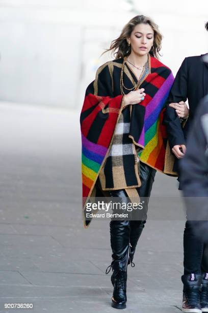 ParisMichael Katherine Jackson wears a multicolor cape black leather pants black shoes during London Fashion Week February 2018 on February 17 2018...