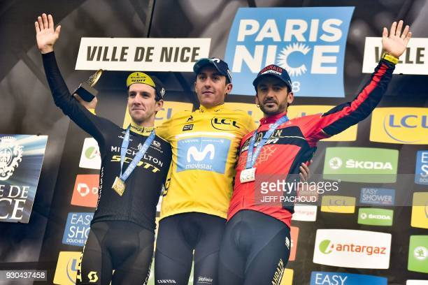 ParisNice 2018 winner Spain's Marc Soler secondplaced Great Britain's Simon Yates and thirdplaced Spain's Gorka Izagirre celebrate on the podium at...