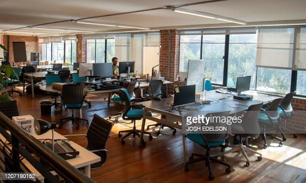 Parisoma, a coworking space, is seen mostly empty in San Francisco, California on March 12, 2020. - Tech-savvy Silicon Valley is joining the trend of...