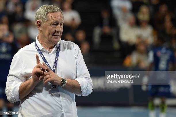 Paris's Bosnian head coach Zvonimir Serdarusic reacts during the French D1 handball match between Montpellier and Paris at Sud de France Arena on...