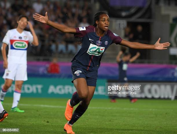 Paris's French forward MarieAntoinette Katoto celebrates after scoring a goal during the women's French Cup final football match between Paris...