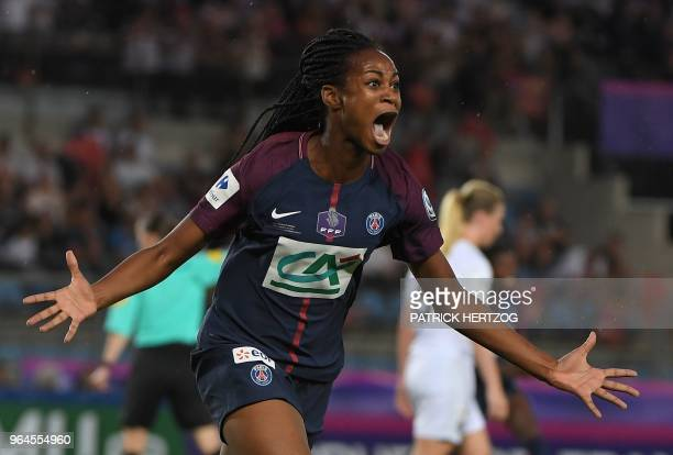 Paris's French forward Marie-Antoinette Katoto celebrates after scoring a goal during the women's French Cup final football match between Paris...