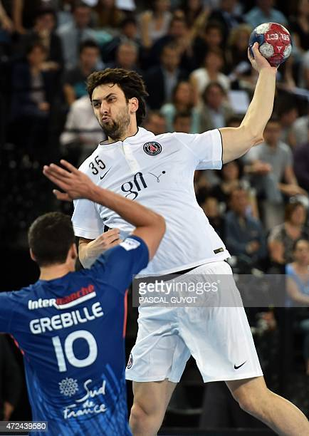 Paris's Marko Kopljar takes a shot during the D1 handball match between Montpellier and Paris on May 7 2015 at Arenal in Montpellier southern France...