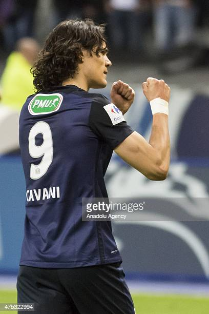 ParisSaintGermain's Edinson Cavani reacts during the French Cup football final match between Paris SaintGermain and AJ Auxerre on May 30 2015 at the...