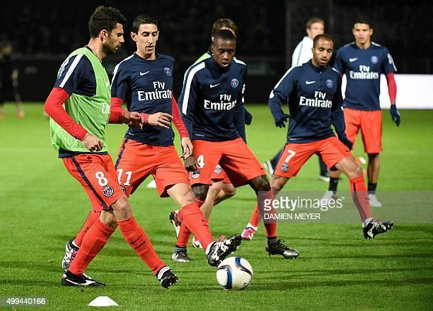 ParisSaintGermain's Italian midfielder Thiago MottaParisSaintGermain's Argentinan midfielder Angel Di Maria ParisSaintGermain's French midfielder...