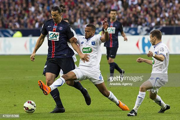 Paris-Saint-Germain's Zlatan Ibrahimovic in action during the French Cup football final match between Paris Saint-Germain and AJ Auxerre on May 30,...