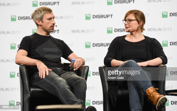 Parity Founders Gavin Wood and Jutta Steiner talk at TechCrunch Disrupt Berlin 2017 at Arena Berlin on December 5 2017 in Berlin Germany