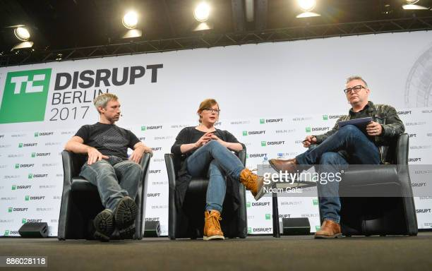 Parity Technologies Founders Jutta Steiner and Gavin Wood talk with TechCrunch Moderator Mike Butcher at TechCrunch Disrupt Berlin 2017 at Arena...