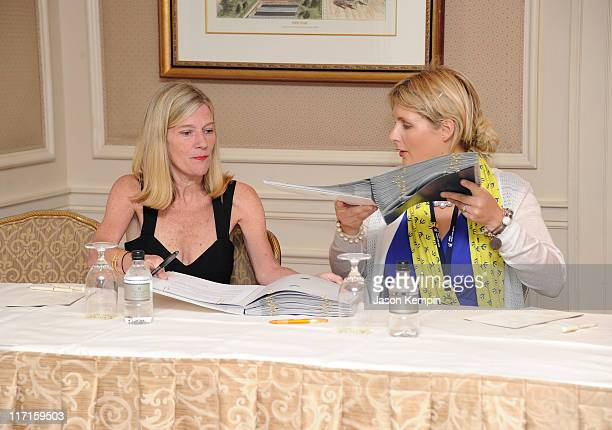 Park Admisnistrator and Executive Director of Randall's Island Aimee Boden and Owner and VP of Hercules Trophy Inge Van Belle attend a signing...