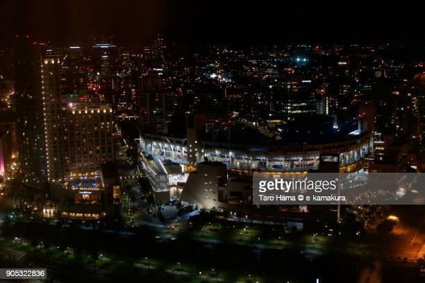 PETCO Park and center of San Diego city nighttime in California in USA