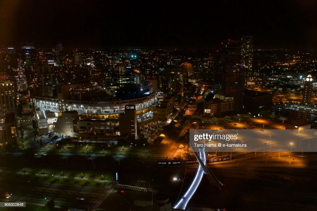 PETCO Park and center of San Diego city nighttime in California in USA : Stock-Foto