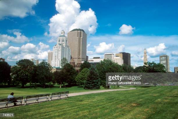 A park and city skyline is seen June 9 1996 in Hartford Ct