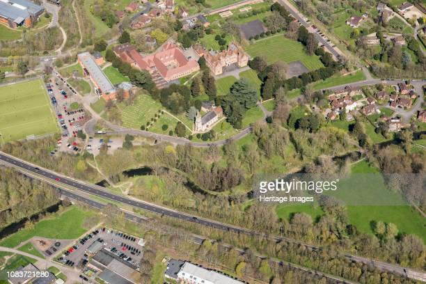 Park and garden at Shaw House, Newbury, West Berkshire, 2018. Aerial view showing St Mary's Church, Trinity School and the River Lambourne. Artist...