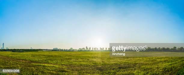 park and skyline, meadow - ancho fotografías e imágenes de stock
