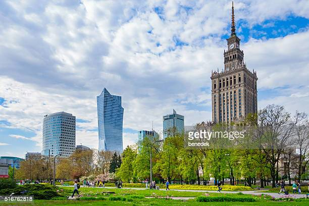 Park and Skyscrapers in Downtown Warsaw Poland