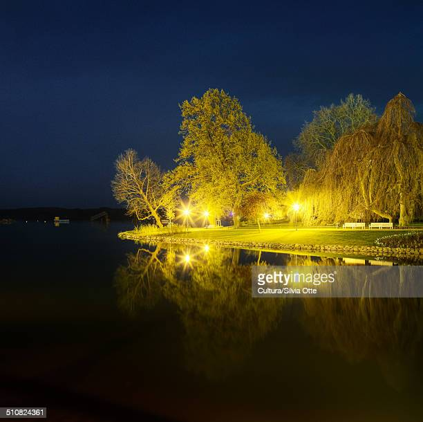 Park at night, Schwerin, Germany
