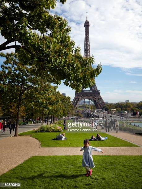 Park at the foot of the Eiffel Tower is photographed for Conde Nast Traveler - Spain on October 4, 2012 in Paris, France.