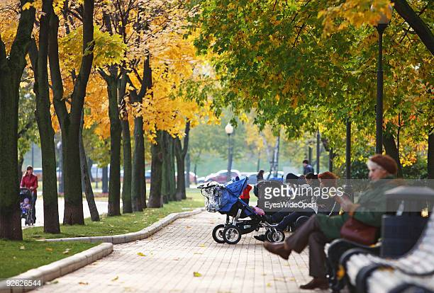 Park at the new Monastery of the Virgins on October 14 2009 in Moscow Russia Its the biggest and most beautiful monastery of Moscow and a UNESCO...