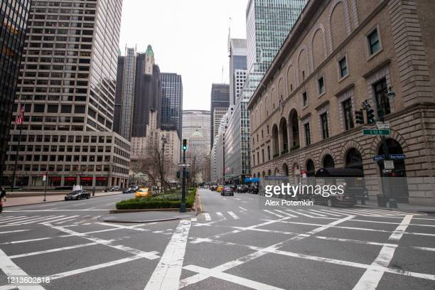 park avenue is deserted because of novel coronavirus pandemic. - alex potemkin coronavirus stock pictures, royalty-free photos & images