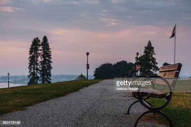 Park bench at sunrise