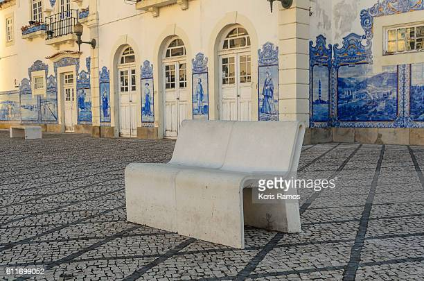 park bench in concrete in aveiro portugal - portuguese culture stock pictures, royalty-free photos & images