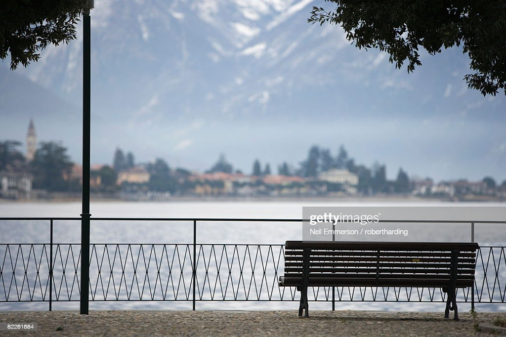 Park bench, Lake Lugano, Switzerland, Europe : Stock Photo