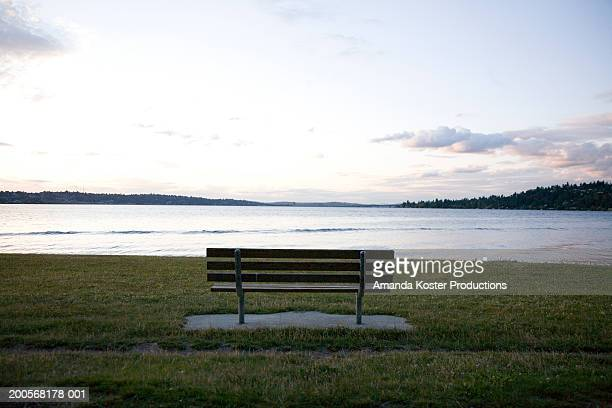 park bench on grass in front of lake - amanda and amanda stock pictures, royalty-free photos & images