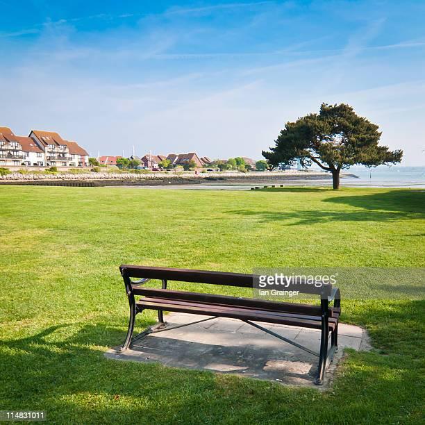 Park bench on grass