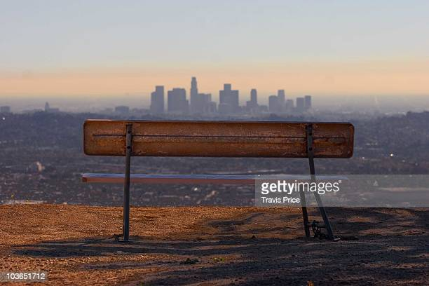 Park Bench Overlooking Downtown L.A. Skylin