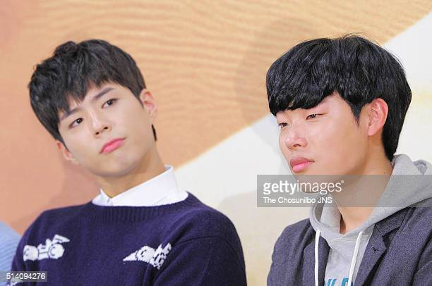 Park Bogum and Ryu Junyeol attend the tvN Youth Over Flowers Africa press conference at Imperial Palace on February 18 2016 in Seoul South Korea