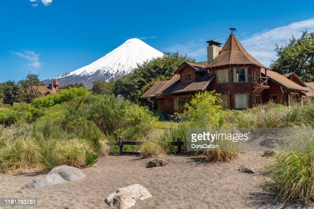 park building at petrohué river in chilean lake district - puerto varas, chile - petrohue river stock photos and pictures