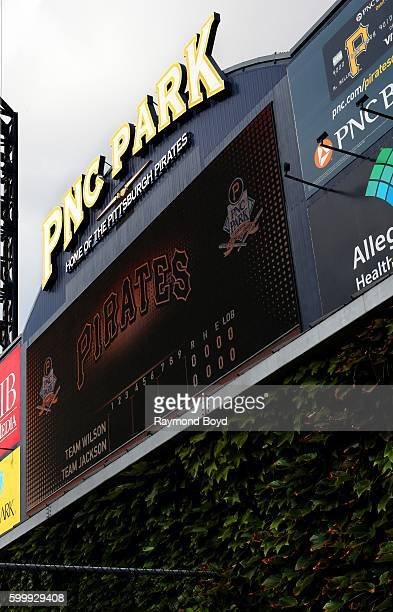 Park center field scoreboard at PNC Park home of the Pittsburgh Pirates baseball team in Pittsburgh Pennsylvania on August 25 2016
