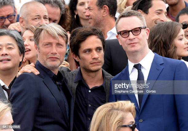 Park ChanWook Madds Mikkenson Gael Garcia Bernal and Nicolas Winding attend the 70th Anniversary photocall during the 70th annual Cannes Film...