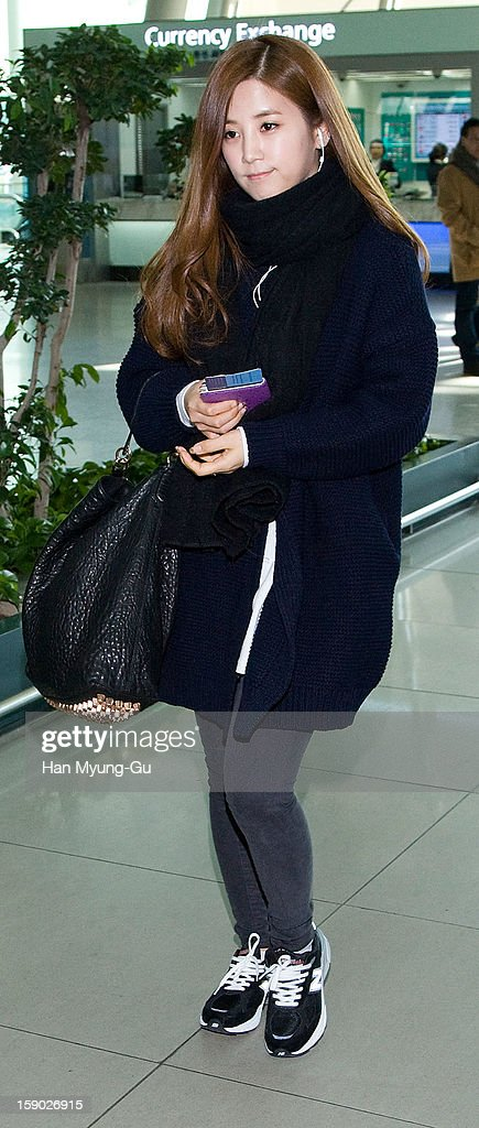 Park Cho-Rong of South Korean girl group A Pink is seen at Incheon International Airport on January 5, 2013 in Incheon, South Korea.