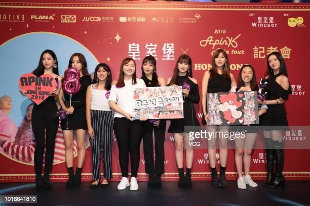 Park Chorong Yoon Bomi Jung Eunji Son Naeun Kim Namjoo and Oh Hayoung of South Korean girl group Apink pose during a fan meeting of 2018 Apink Asia...