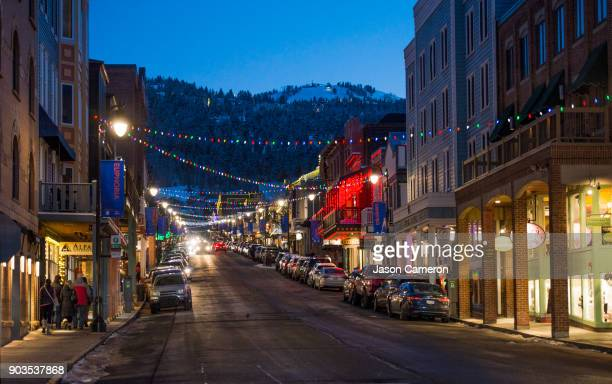park city and the mountain behind - park city utah stock pictures, royalty-free photos & images