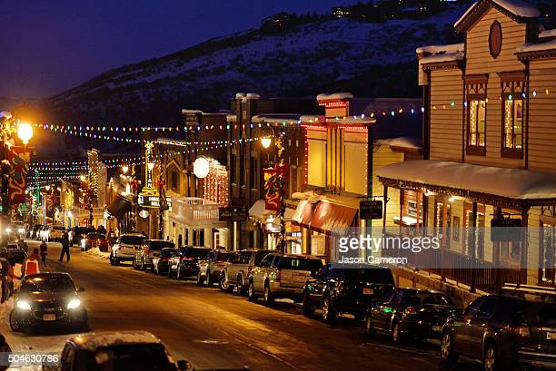 park city main street - park city stock pictures, royalty-free photos & images