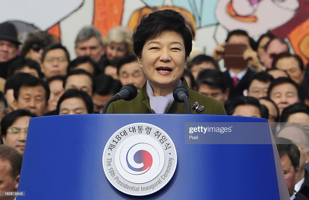 Park Geun-Hye, South Korea's president, speaks during her inauguration ceremony in the National Assembly on February 25, 2013 in Seoul, South Korea. Park is sworn in as the first female president of South Korea.