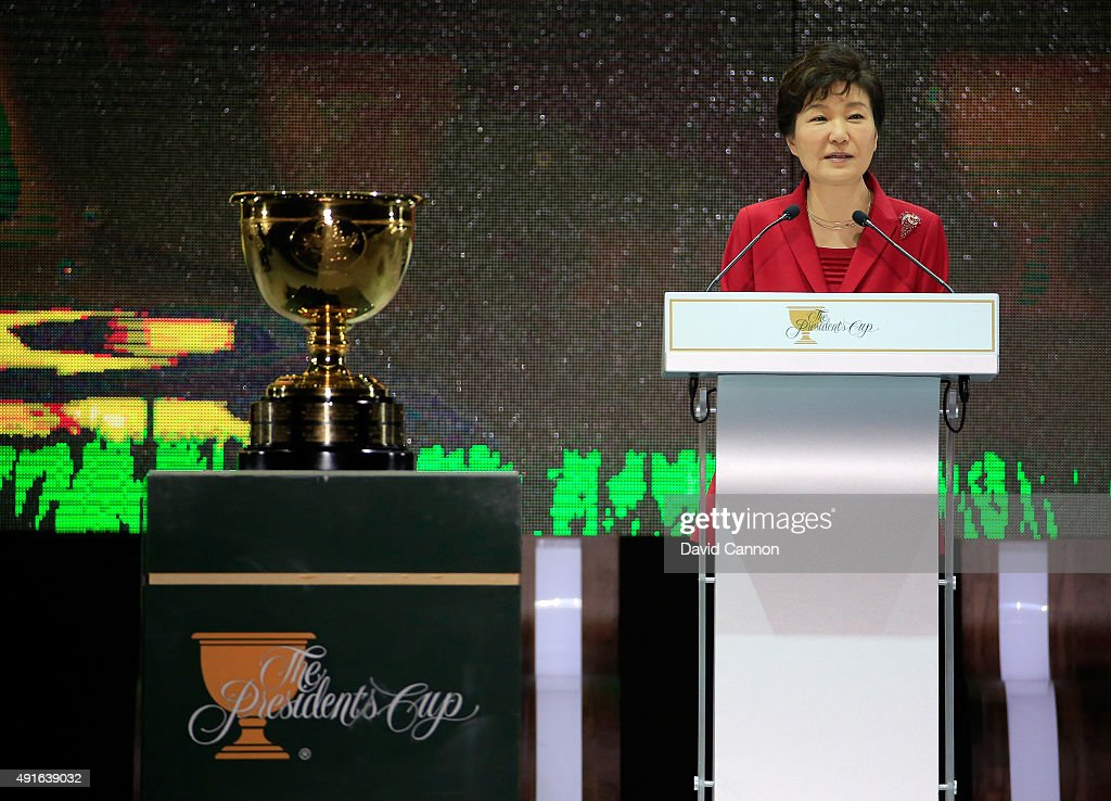 Park Geun-hye The President of South Korea speaks during her official welcoming speech during the opening ceremony of the 2015 Presidents Cup at the Convensia Ceremony Hall on October 7, 2015 in Incheon City, South Korea.