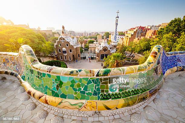 park guell at sunrise - antonio gaudi stock pictures, royalty-free photos & images