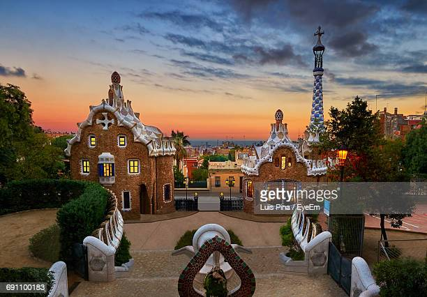 Park Guell In City Against Sky During Sunset