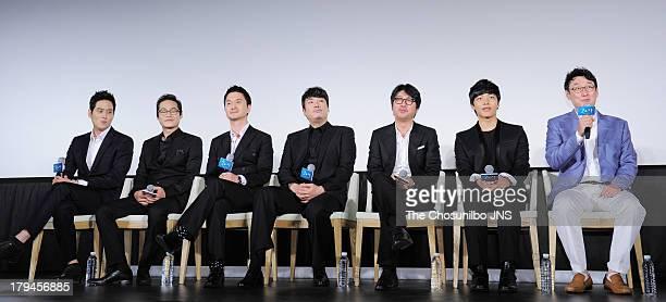 Park HaeJoon Kim SungKyun Jang HyunSung Jo JinWoong Kim YunSeok Yeo JinGu and director Jang JoonHwan attend the 'Hwai' press conference at Dongdaemun...