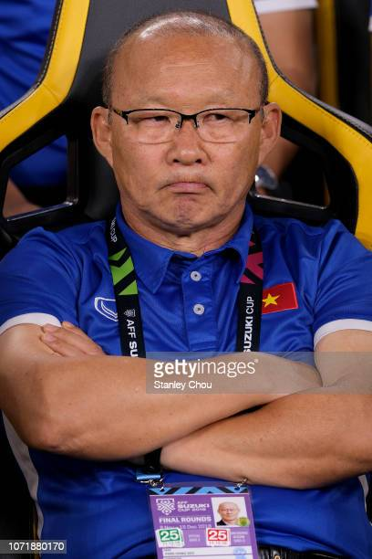 Park Hang Seo coach of Vietnam looks on during the AFF Suzuki Cup final first leg match between Malaysia and Vietnam at Bukit Jalil National Stadium...