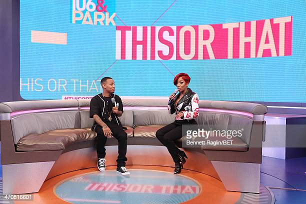 106 Park host Bow Wow and recording artist K Michelle visits 106 Park at BET studio on February 13 2014 in New York City